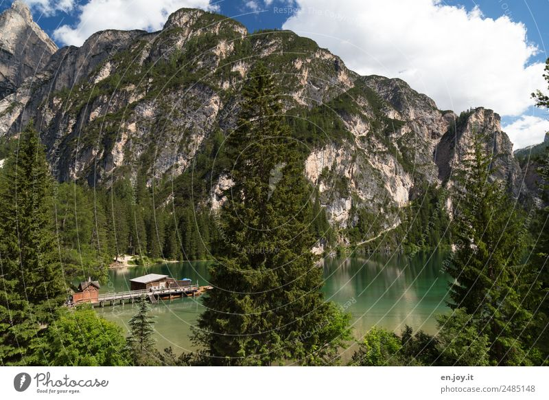 prospect Vacation & Travel Tourism Trip Summer Summer vacation Mountain Nature Landscape Forest Rock Alps Dolomites Lake Prags Wildsee Mountain lake Italy