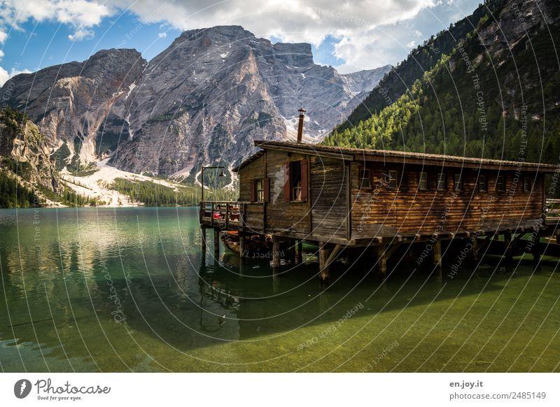 hut magic Vacation & Travel Summer Summer vacation Mountain Nature Landscape Beautiful weather Alps Dolomites Peak Lake Prags Wildsee Italy South Tyrol Hut
