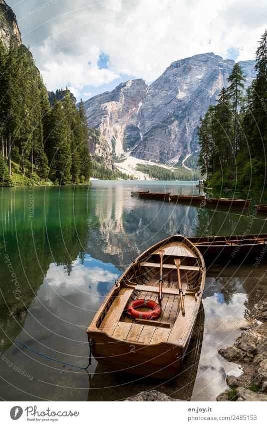lifeboat Leisure and hobbies Vacation & Travel Tourism Trip Adventure Summer Summer vacation Mountain Nature Landscape Clouds Forest Rock Alps Dolomites