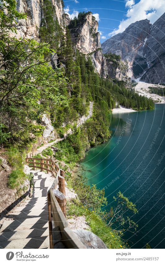 Mountain down Vacation & Travel Trip Far-off places Summer Summer vacation Hiking Nature Landscape Rock Alps Dolomites Lakeside Pragser Wildsee Lake Italy