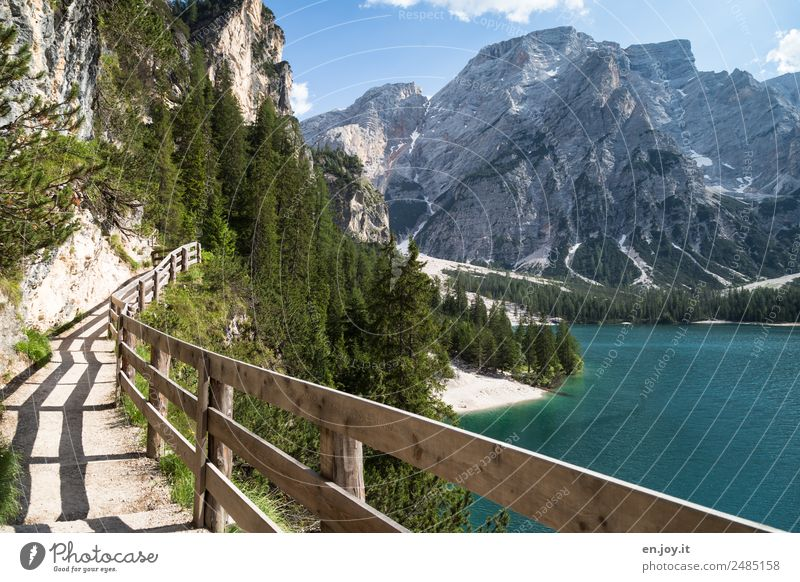safe hiking Vacation & Travel Trip Far-off places Summer Summer vacation Mountain Hiking Nature Landscape Forest Rock Alps Dolomites Lakeside Prags Wildsee