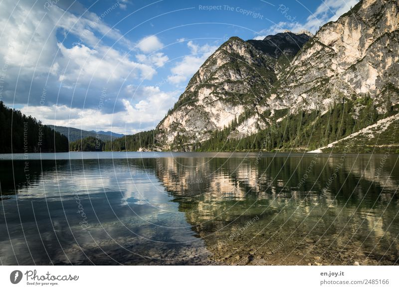 THE OTHER SIDE Vacation & Travel Summer vacation Mountain Nature Landscape Clouds Rock Alps Dolomites Lake Pragser Wildsee Lake Italy South Tyrol Clean Hope