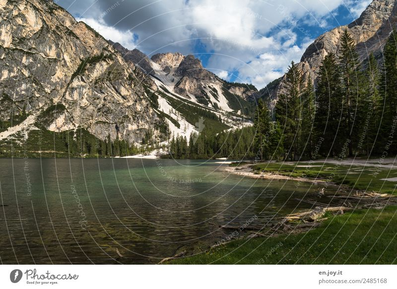wild lake Vacation & Travel Trip Summer vacation Mountain Nature Landscape Clouds Alps Dolomites Lakeside Pragser Wildsee Lake Italy South Tyrol Green Adventure