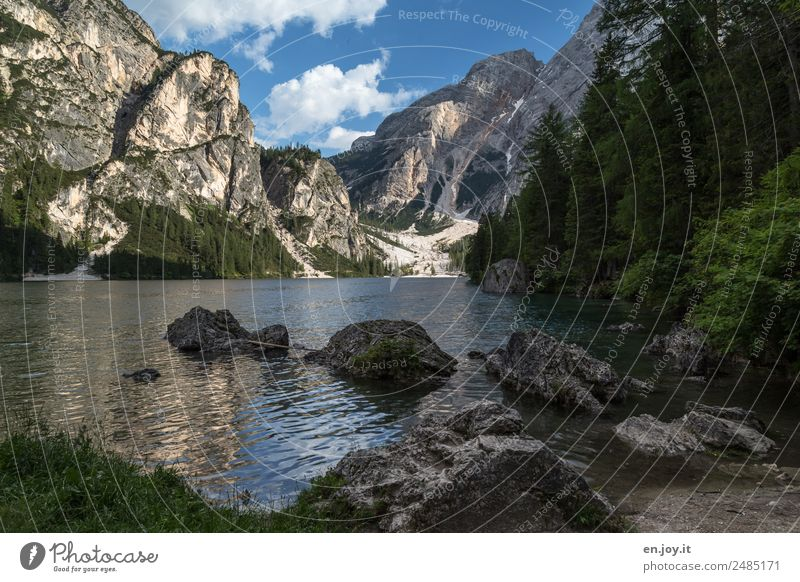 island hopping Vacation & Travel Trip Summer Summer vacation Mountain Nature Landscape Sky Forest Rock Alps Dolomites Lakeside Pragser Wildsee Lake Italy