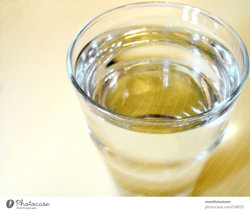 water glass Tumbler Blur Yellow Calm Reflection Close-up Living or residing Detail Bird's-eye view Glass Fluid