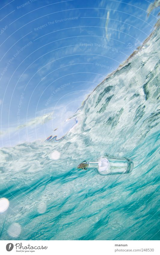 message in a bottle Mail Exchange of information Contact Postman Means of communication Information Water Sky Ocean Waves Surface of water Message in a bottle