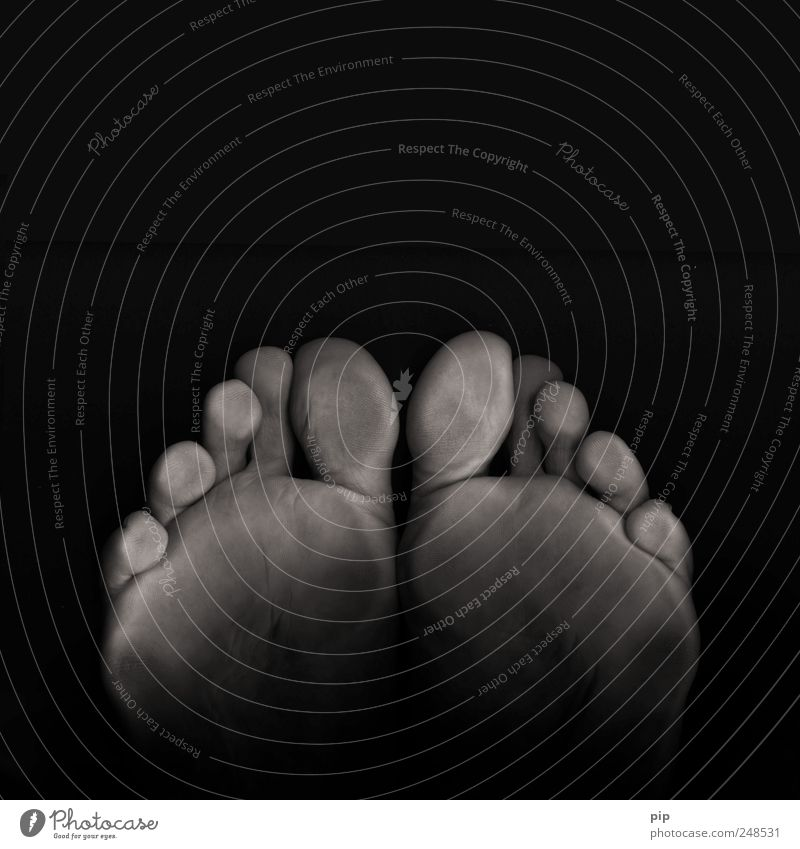 blackfeet Human being Masculine Feet Toes Sole of the foot 1 Dark Disgust Cold Gray Black Scan 10 Skin Stand Level Black & white photo Close-up Detail Abstract