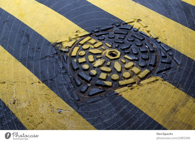 painted Street Zebra crossing Marker line Yellow Gray Gully Structures and shapes Painted Line Colour photo Exterior shot Abstract Pattern Deserted