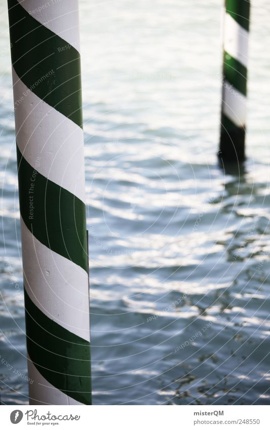 Venice. Esthetic Jetty Water Ocean Canal Grande Green White Striped Stick out Pattern Column Wooden stake Navigation Lagoon Body of water Colour photo