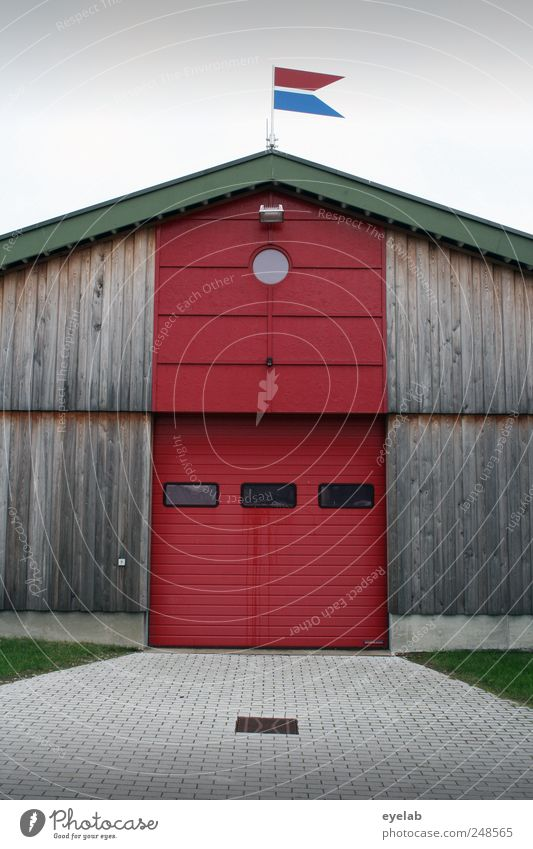 Red House (Residential Structure) Window Wood Architecture Building Door Facade Roof Flag Gate Garage Fire department Section of image Partially visible