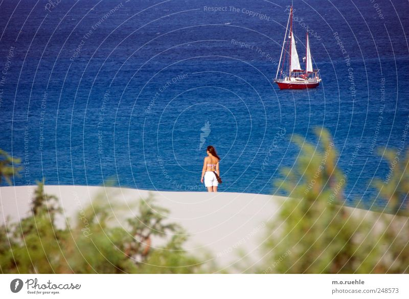 Human being Woman Nature Vacation & Travel Summer Ocean Beach Adults Far-off places Environment Landscape Freedom Coast Moody Waves Skin