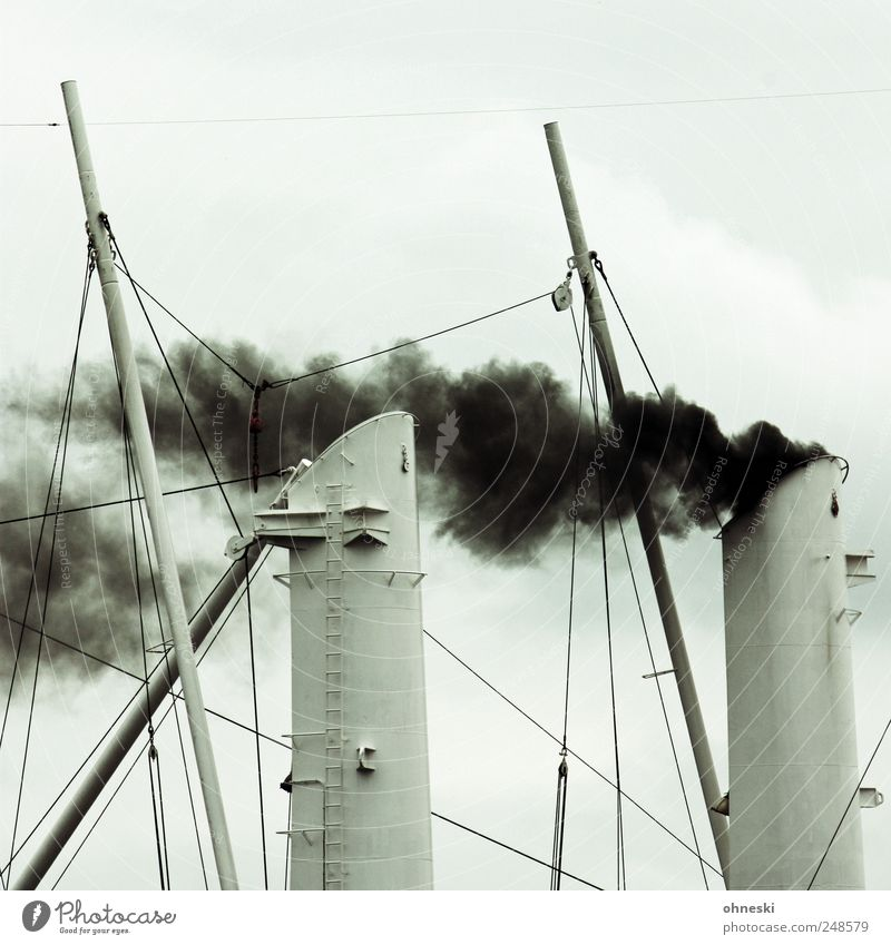 Sky White Clouds Black Rope Smoke Navigation Exhaust gas Environmental pollution Cruise Steamer Ship smokestack