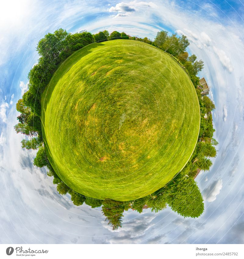 Little Planet. Panorama of natural landscape in Germany. Beautiful Vacation & Travel Summer Sun Environment Nature Landscape Sky Clouds Tree Grass Park Meadow