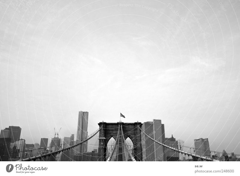 postcard Vacation & Travel Sightseeing City trip had New York City Town House (Residential Structure) High-rise Bridge Brooklyn Bridge Living or residing Gray