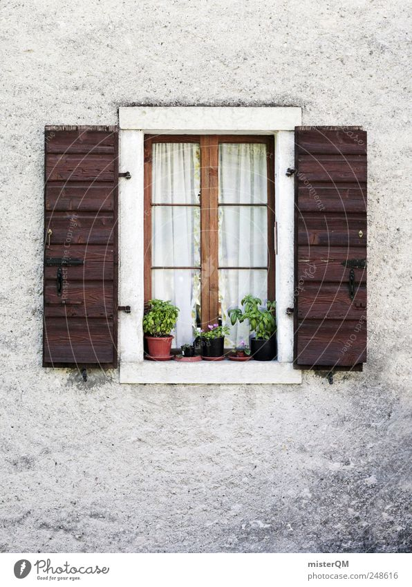 at the window. Village Small Town Detached house Dream house Hut Building Esthetic Facade House (Residential Structure) Window Window pane Shutter Window board