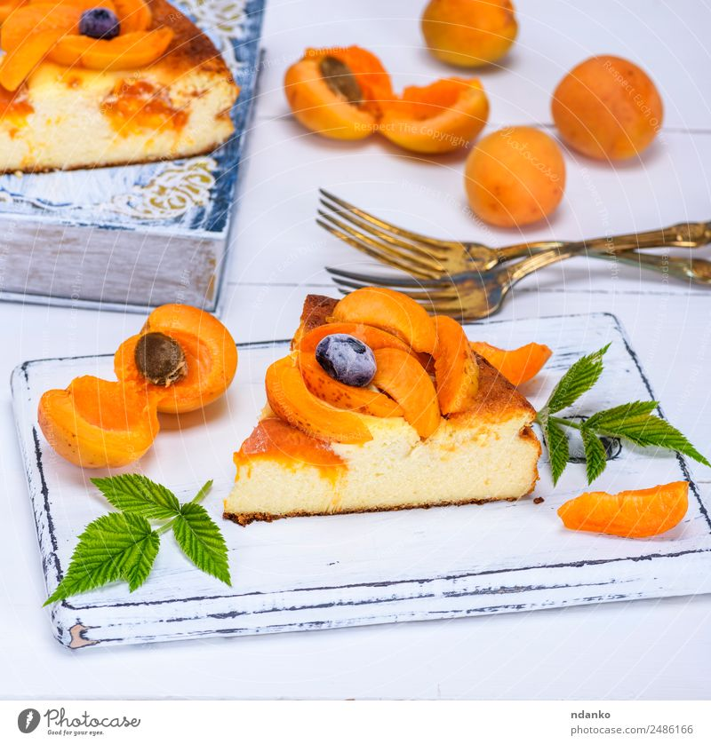 cake from cottage cheese and apricot Fruit Cake Dessert Candy Breakfast Fork Table Eating Fresh Delicious Yellow White appetizing Apricot Baking Bakery