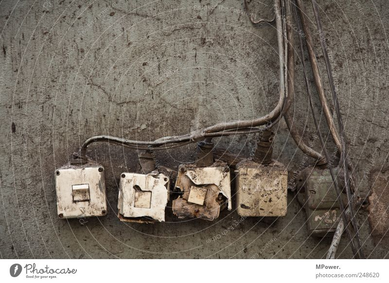 Old Wall (building) Gray Brown Dirty Energy Energy industry Broken Electricity Cable Technology Square Decline Nuclear Power Plant Light switch