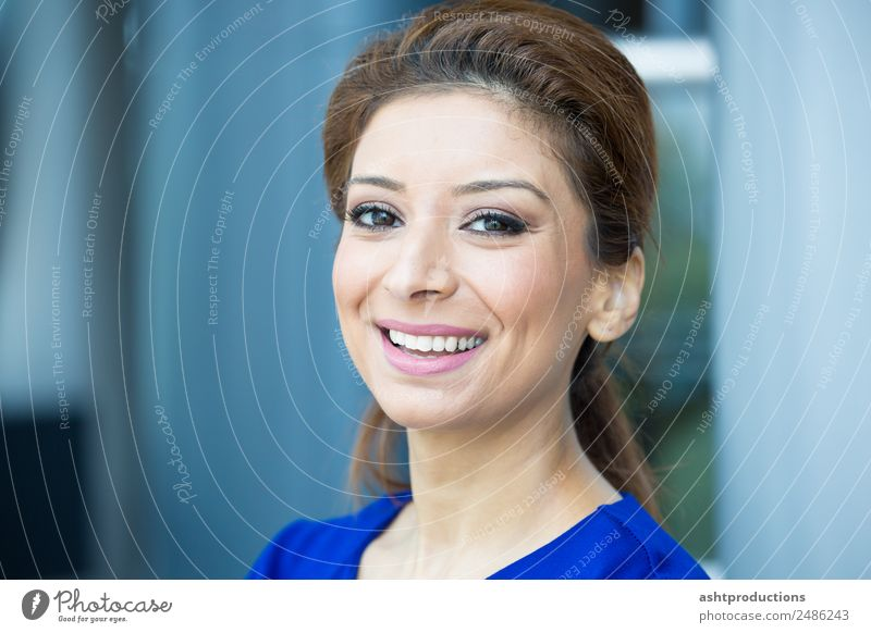 Winning smile Happy Academic studies Office Business Company Career Success Human being Woman Adults 1 Friendliness Happiness Fresh Healthy Smart Beautiful Joy