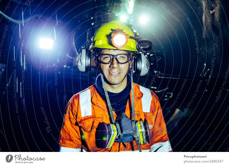 A happy miner inside a mine in Cerro de Paso - Peru Vacation & Travel Mountain Work and employment Profession Industry Business Human being Man Adults Culture