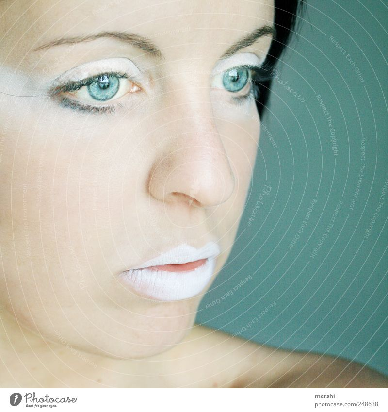 Woman Human being White Blue Feminine Style Head Adults Mouth Power Skin Elegant Empty Mask Meditative Make-up