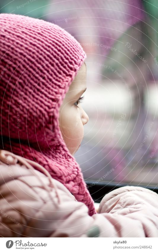 window seat girl Child Toddler Infancy Childhood memory cap Woolen hat Railroad Train travel Discover Train window Dreamily Vacation & Travel Travel photography
