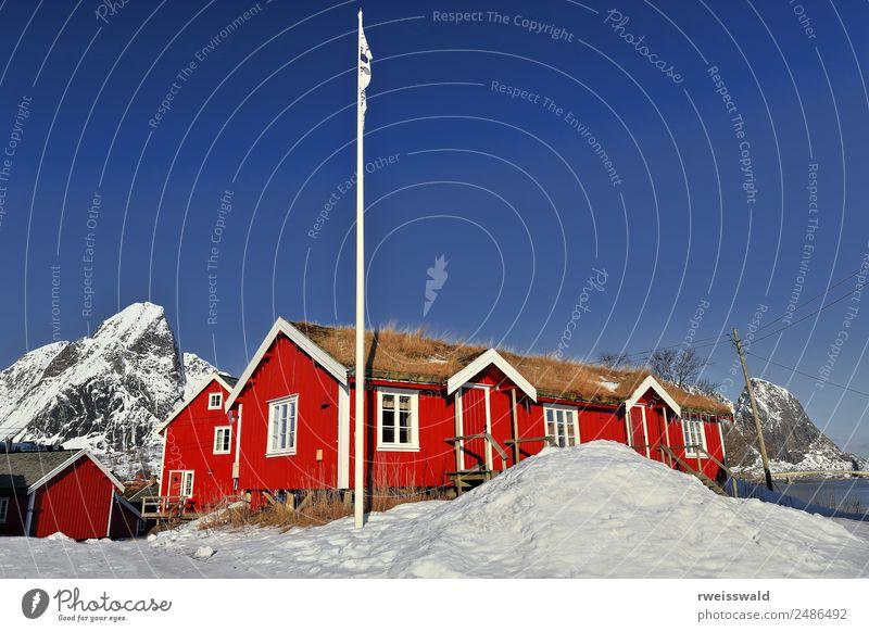 Red cottages-tourist rorbuer. Reine village-Lofoten-Norway-0308 Nature Vacation & Travel Water Sun Landscape House (Residential Structure) Calm Winter Window