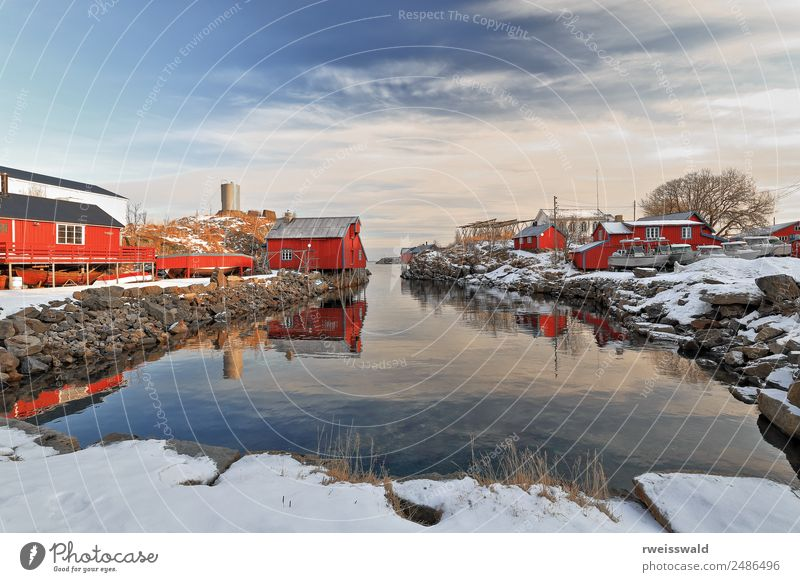 Inner-old harbor of A i Lofoten village. Sorvagen-Norway-0319 Sky Nature Vacation & Travel Blue Water Sun Landscape White Red House (Residential Structure)