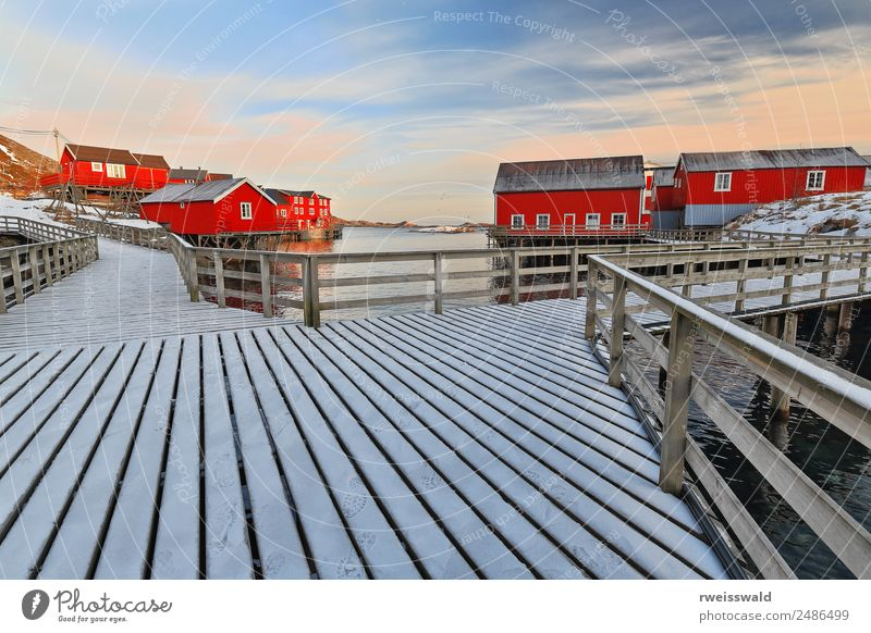 Red cottages-rorbuer. Wooden gangplanks. A i Lofoten-Norway-0328 Vacation & Travel Sun Relaxation House (Residential Structure) Calm Winter Snow Tourism Island