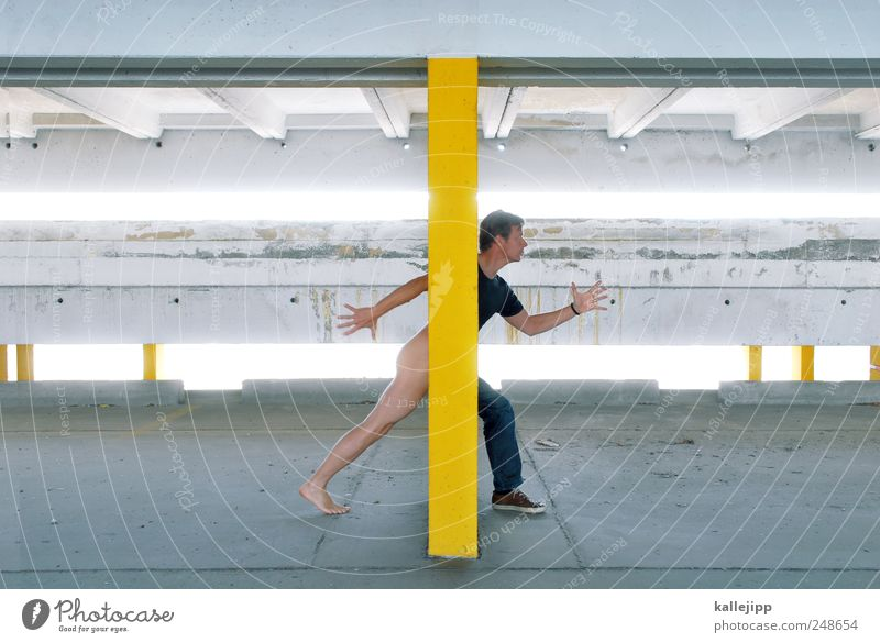 nude scanner Human being Masculine Man Adults Body Arm Bottom Legs Feet 1 30 - 45 years Art Parking garage Going Walking Naked Natural body scanner Comprehend