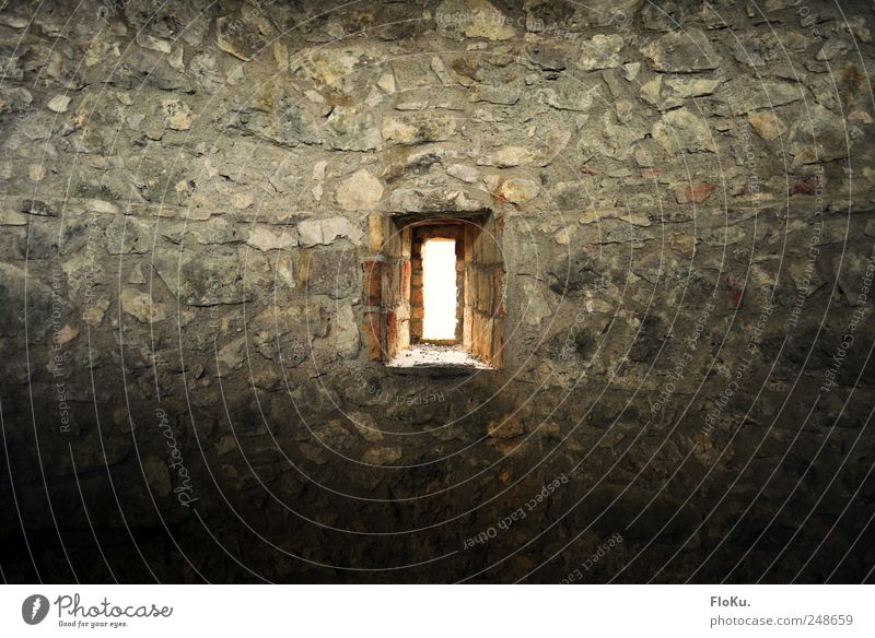 castle windows Vacation & Travel Sightseeing Deserted Ruin Wall (barrier) Wall (building) Window Old Gloomy Gray Masonry Rustic Stone Dazzle Flare Castle wall