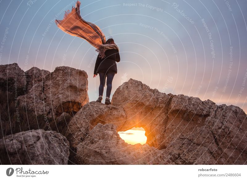 woman with scarf in the wind Happy Beautiful Freedom Summer Sun Beach Ocean Human being Woman Adults Hand Nature Sky Wind Rock Dress Scarf Blonde Stand Blue