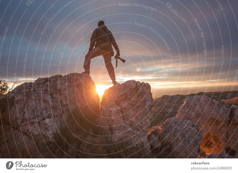 photographer in mountain at sunset Happy Vacation & Travel Tourism Trip Adventure Freedom Camping Summer Mountain Hiking Climbing Mountaineering Camera Man