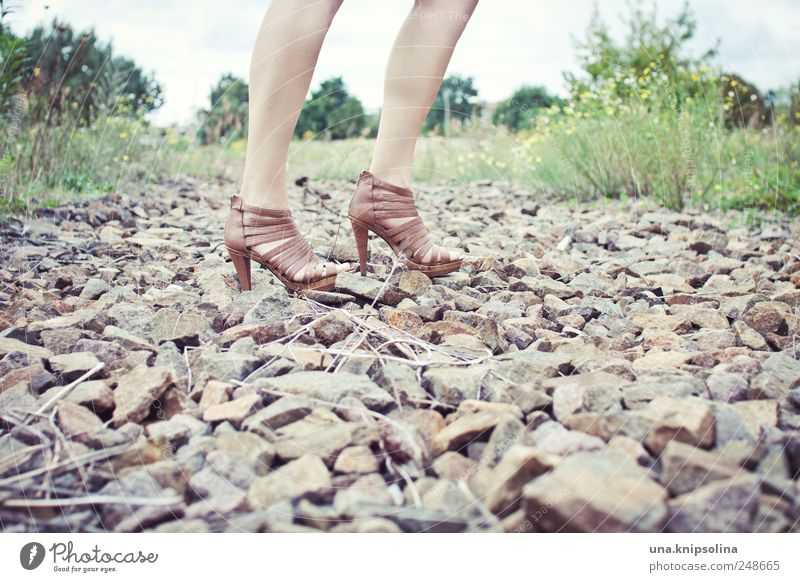 Woman Human being Nature Beautiful Adults Feminine Street Environment Lanes & trails Stone Legs Feet Footwear Elegant Going Lifestyle