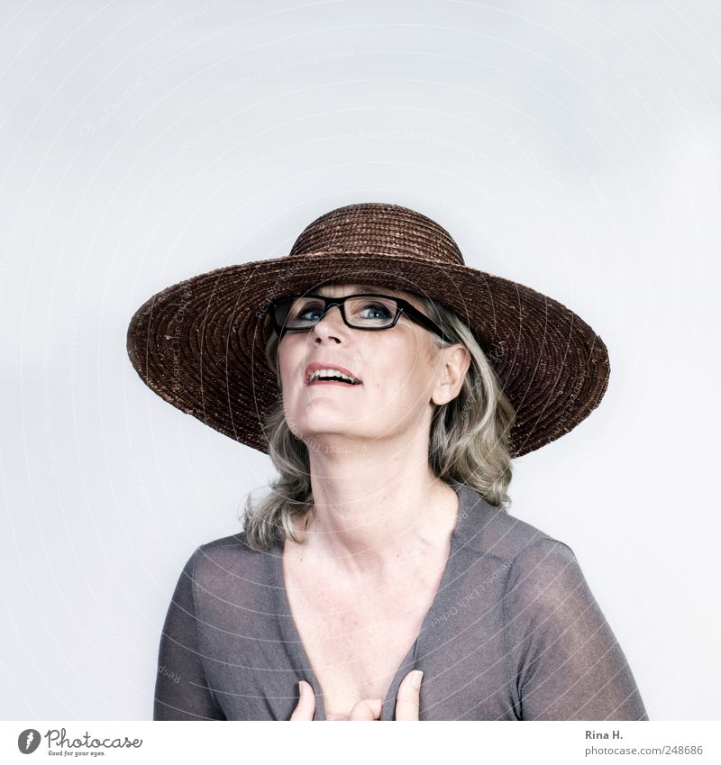 Weekend! Human being Woman Adults 1 45 - 60 years Shirt Eyeglasses Hat Blonde Gray-haired Long-haired Smiling Looking Authentic Happy Bright Thin Emotions Joy