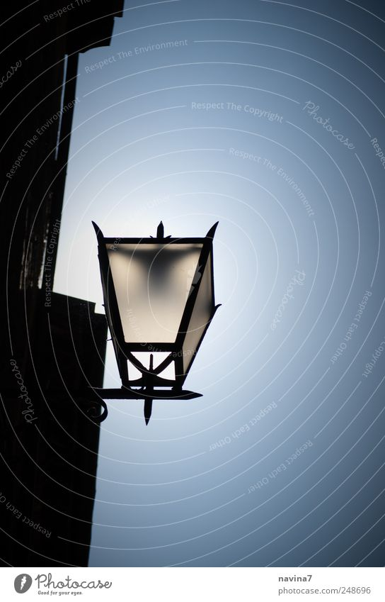 Old Blue Black Wall (building) Wall (barrier) Metal Lamp Art Facade Esthetic Illuminate Peace Old town Town