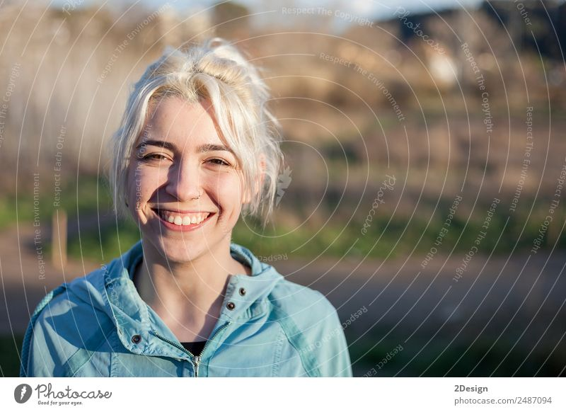 Portrait of a young woman walks outdoor as workout Lifestyle Happy Beautiful Sports Jogging Work and employment Human being Feminine Young woman