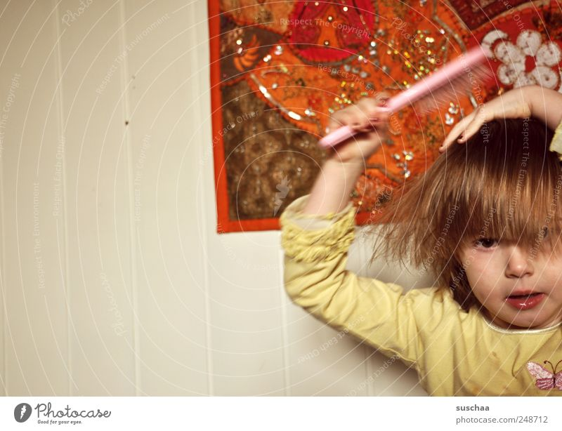 bad hair days .. Child Toddler Girl Infancy Head Hair and hairstyles Face 3 - 8 years Tapestry carpet Hairdressing Colour photo Multicoloured Interior shot