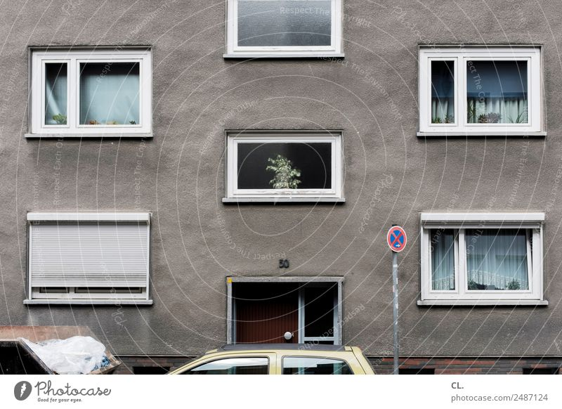 Plant Town House (Residential Structure) Window Street Wall (building) Lanes & trails Wall (barrier) Gray Facade Living or residing Car Transport Decoration