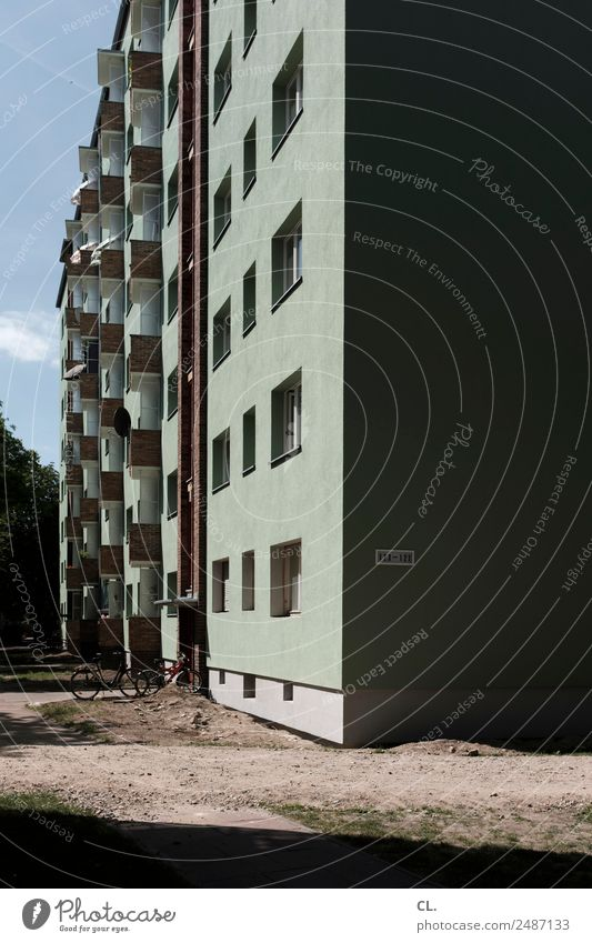 Sky Town House (Residential Structure) Architecture Wall (building) Berlin Building Wall (barrier) Facade Living or residing Bicycle High-rise Beautiful weather