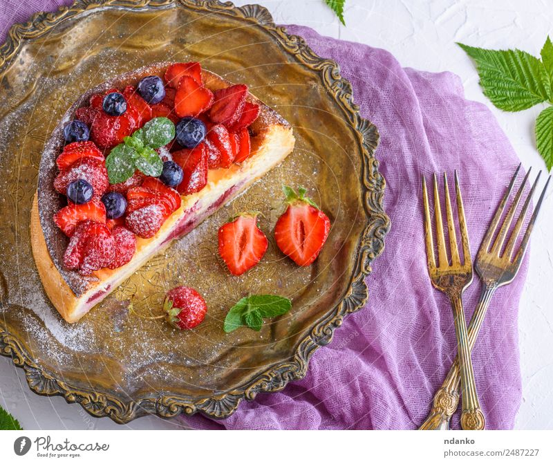 half cheesecake with strawberries Cheese Fruit Cake Dessert Nutrition Plate Fork Table Leaf Eating Fresh Bright Delicious Green Red White Colour Strawberry