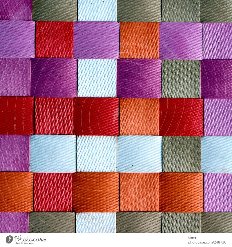 Small-minded Decoration Floor mat Plastic Brown Violet Red White Arrangement Plaited Parallel Square small box Colour photo Multicoloured Pattern