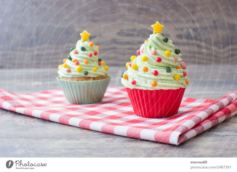 Christmas cupcakes Food Dessert Candy Christmas & Advent Delicious Sweet Multicoloured Green Cupcake Baked goods Creamy Christmas tree Structures and shapes
