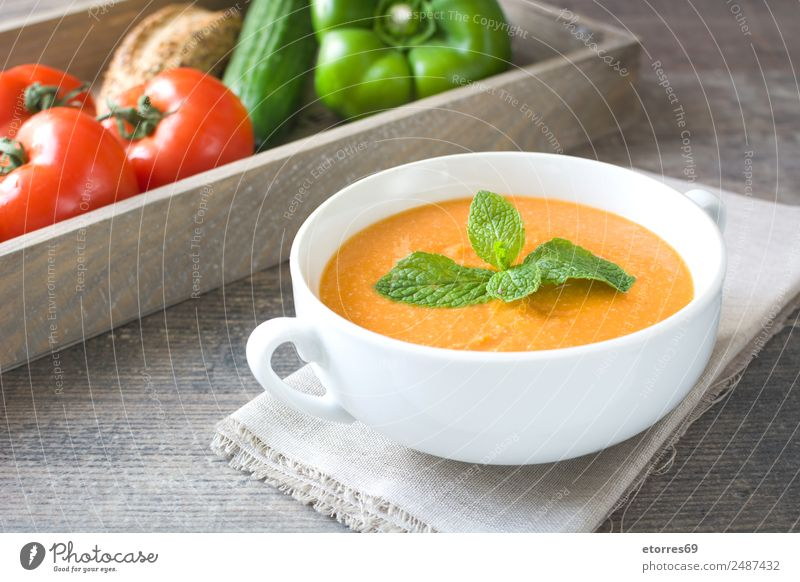 Pumpkin soup Healthy Eating Autumn Food Nutrition Fresh Vegetable Seasons Good Organic produce Bowl Cream Vegetarian diet Wooden table Lunch Tomato