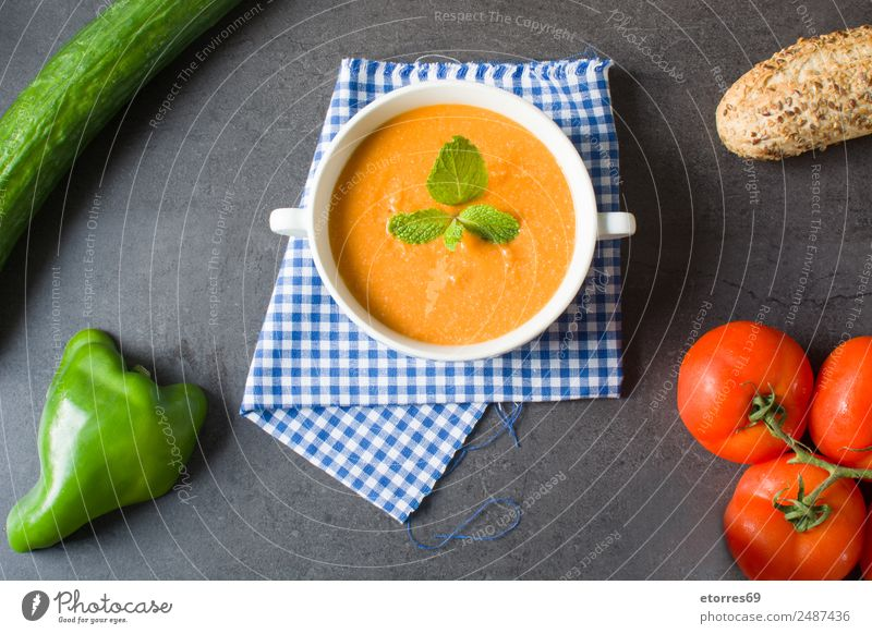 Pumpkin soup Food Vegetable Nutrition Lunch Vegetarian diet Bowl Thanksgiving Healthy Good Green Orange Red Creamy Tomato Pepper Cucumber Bread Ingredients