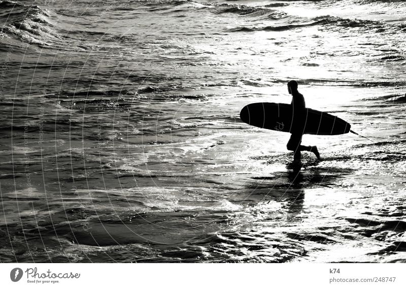 surfer Sports Surfing Surfboard Human being Masculine Young man Youth (Young adults) Beautiful weather Waves Coast Ocean Walking Athletic Black White