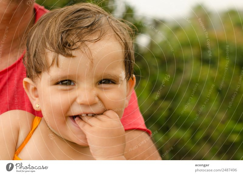 Girl Baby smiling Beautiful Garden Human being Feminine Infancy Face 1 0 - 12 months To enjoy Smiling Laughter Happiness Fresh Enthusiasm Cute Mouth