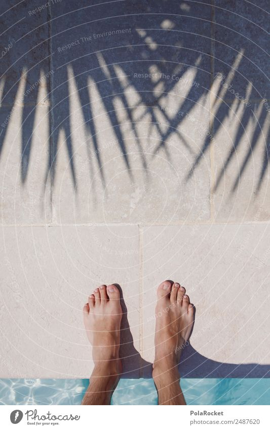 Human being Vacation & Travel Summer Relaxation Warmth Feet Leisure and hobbies Esthetic Summer vacation Swimming pool Palm tree Barefoot Summery Vacation photo