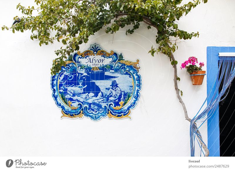Restaurant facade in Alvor, Portugal Vacation & Travel Old Town Beautiful White Tree Flower House (Residential Structure) Street Architecture Building Art