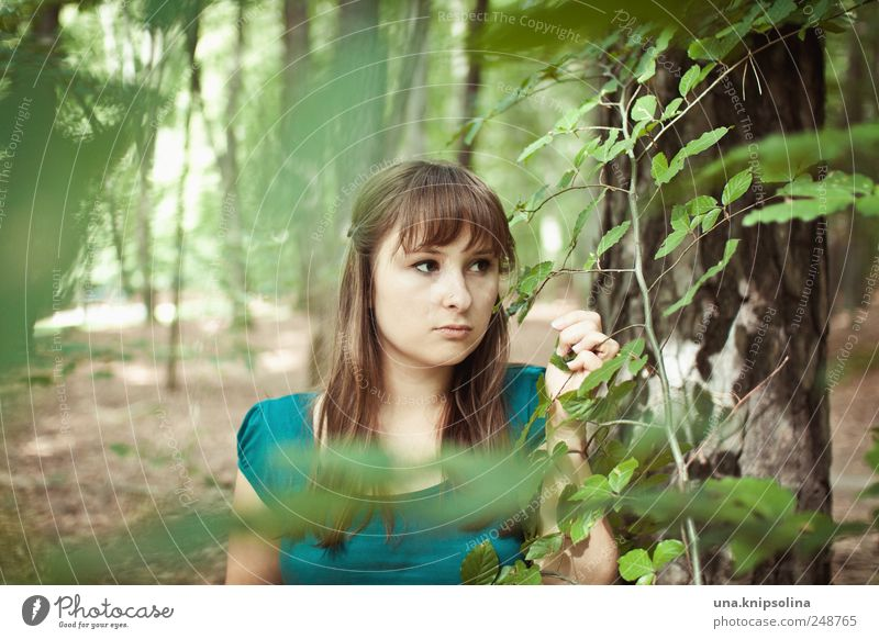 Woman Human being Nature Youth (Young adults) Green Beautiful Tree Plant Leaf Calm Forest Relaxation Feminine Environment Landscape Adults