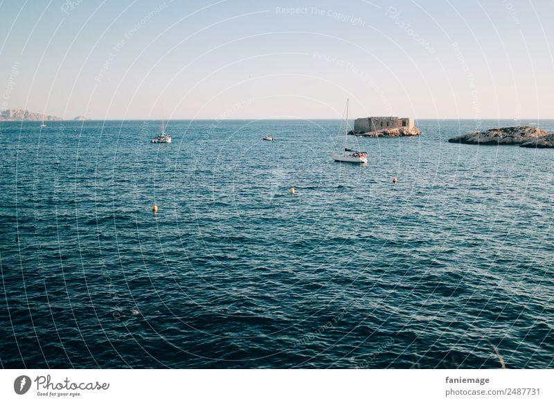 la mer Environment Nature Landscape Water Cloudless sky Beautiful weather Warmth Waves Coast Blue Marseille Corniche Mediterranean sea Ocean Castle Island